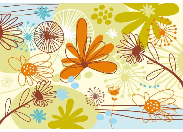Fotobehang Vlies | Bloemen | Groen, Oranje | 254x184cm
