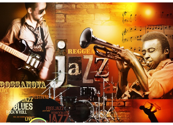 Fotobehang Vlies | Muziek | Bruin, Oranje | 254x184cm