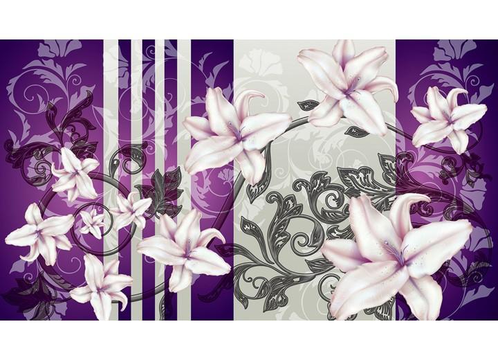 Fotobehang Vlies   Bloemen   Paars, Grijs   254x184cm