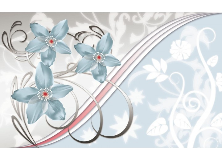 Fotobehang Vlies   Bloemen   Blauw, Grijs   254x184cm