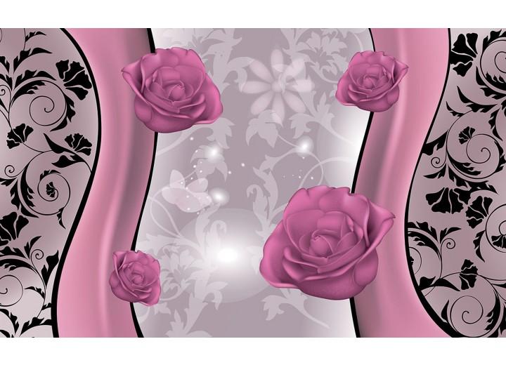 Fotobehang Vlies | Bloemen | Roze, Grijs | 254x184cm