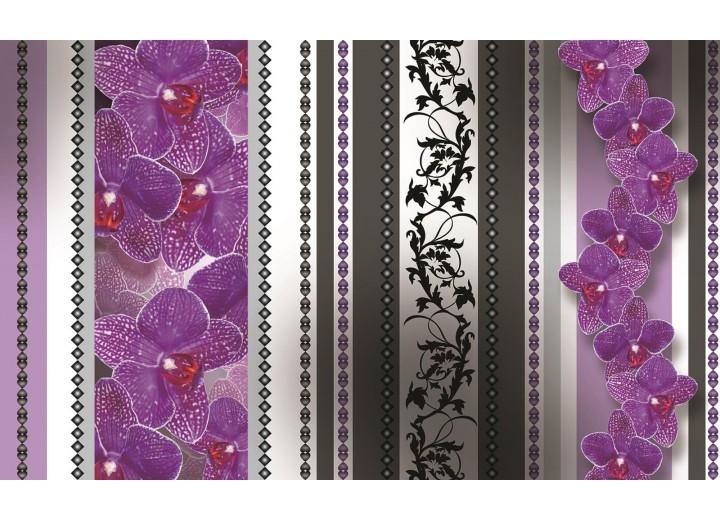 Fotobehang Vlies | Bloemen, Orchidee | Paars, Grijs | 254x184cm