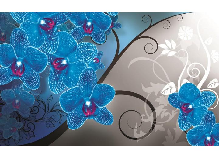 Fotobehang Vlies | Bloemen, Orchidee | Blauw, Grijs | 254x184cm