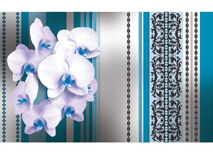 Fotobehang Vlies | Bloemen, Orchidee | Turquoise, Wit | 254x184cm