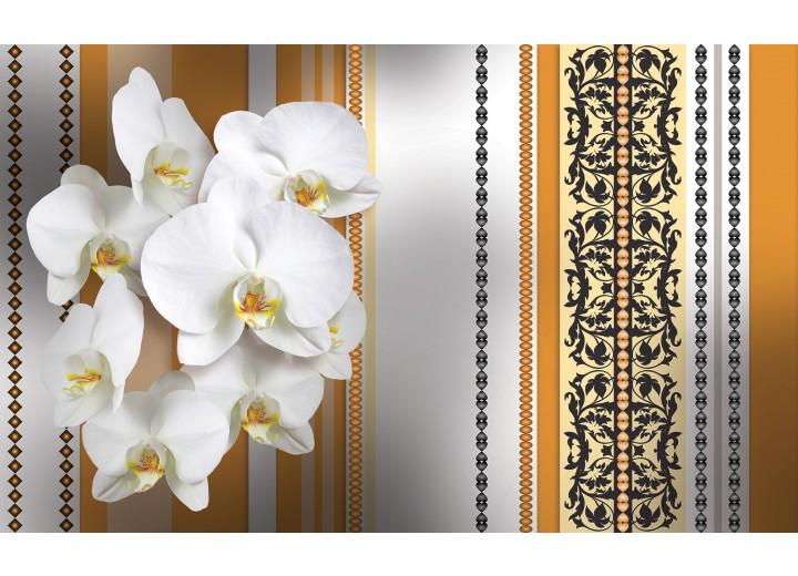 Fotobehang Vlies | Bloemen, Orchidee | Wit, Oranje | 254x184cm