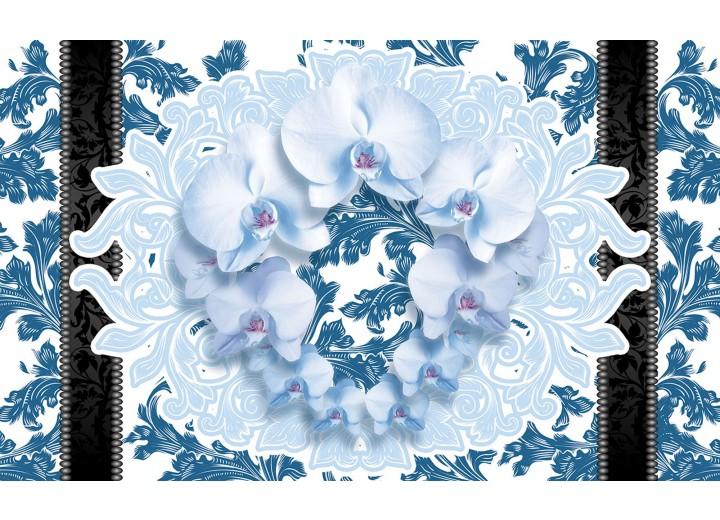 Fotobehang Vlies   Bloemen, Orchideeën   Blauw   254x184cm