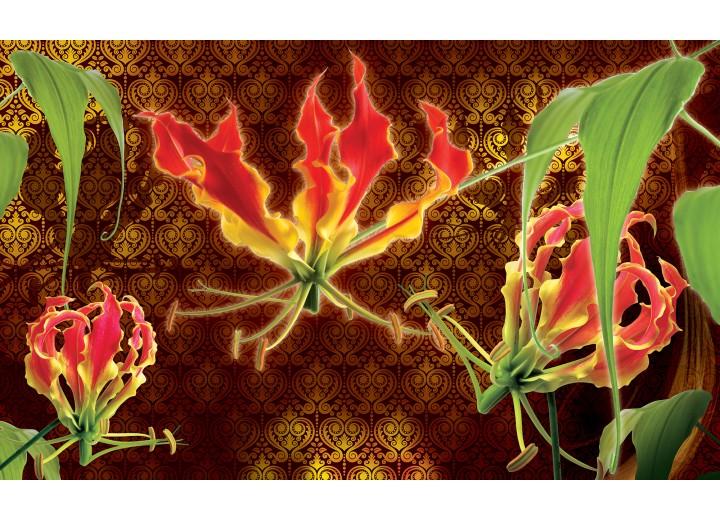 Fotobehang Vlies   Bloemen   Bruin, Groen   254x184cm