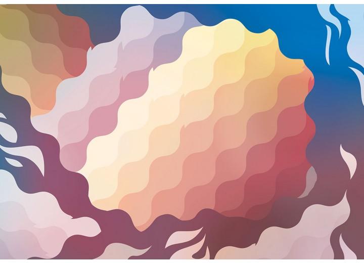 Fotobehang Vlies | Abstract | Geel, Blauw | 254x184cm