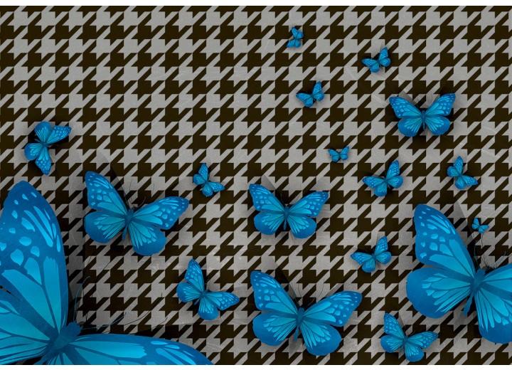 Fotobehang Vlies | Vlinder | Blauw, Grijs | 254x184cm