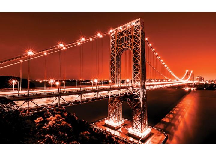Fotobehang Vlies | Brug | Oranje | 254x184cm