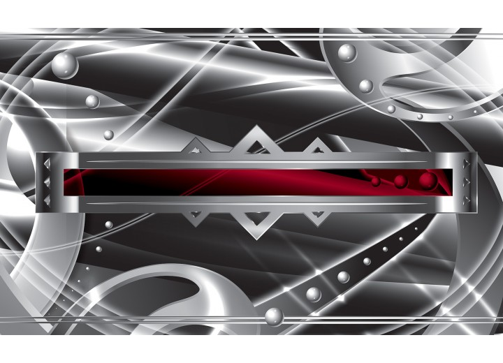 Fotobehang Vlies   Abstract   Zilver, Rood   254x184cm
