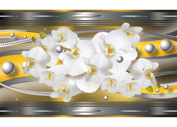 Fotobehang Vlies | Bloemen, Orchideeën | Zilver | 254x184cm