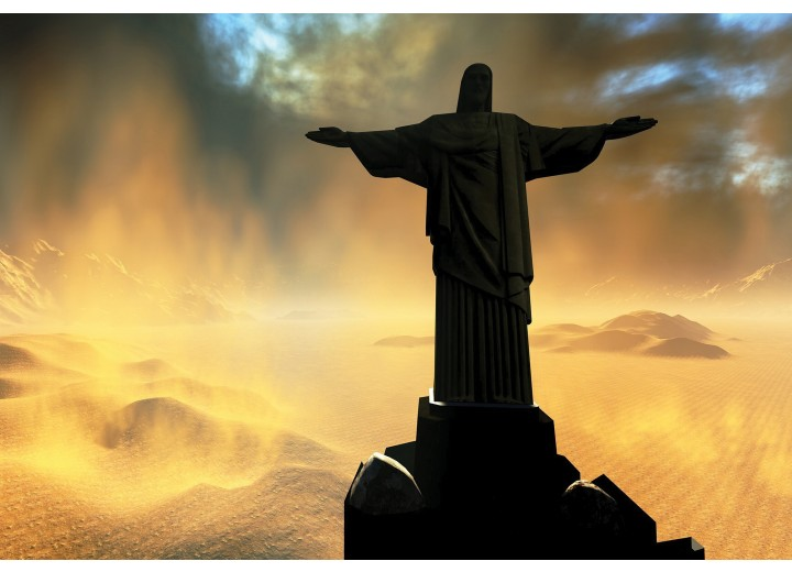 Fotobehang Vlies | Jezus, Brazilië | Zwart | 254x184cm