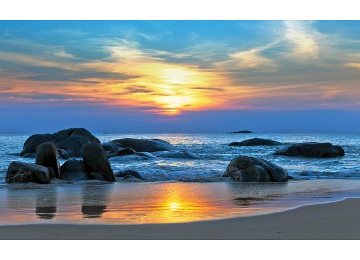 Fotobehang Vlies   Zee   Blauw, Geel   254x184cm