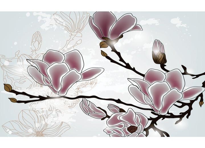Fotobehang Vlies | Bloemen, Magnolia | Grijs | 254x184cm