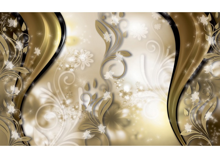 Fotobehang Vlies | Abstract, Bloem | Goud | 254x184cm