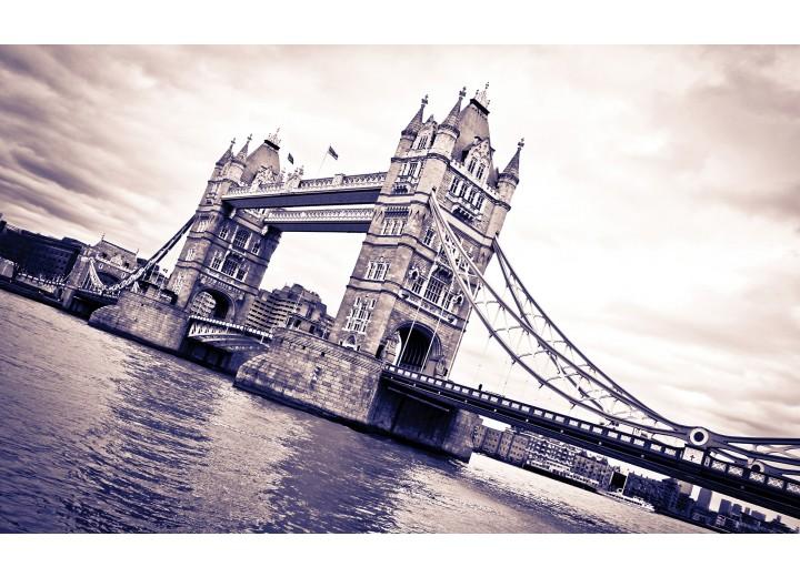 Fotobehang Vlies | London, Brug | Grijs | 254x184cm