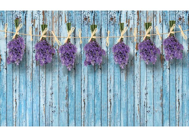 Fotobehang Vlies | Hout, Bloemen | Blauw | 254x184cm