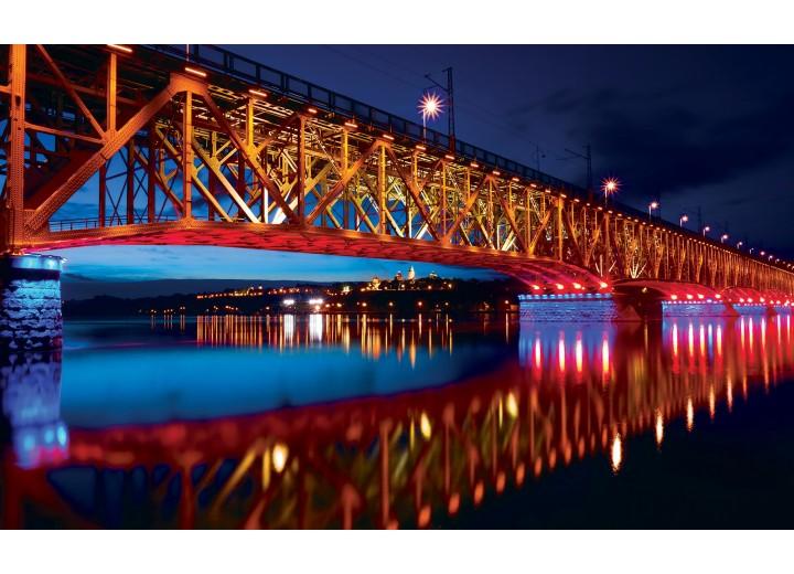 Fotobehang Vlies | Brug | Rood, Blauw | 254x184cm