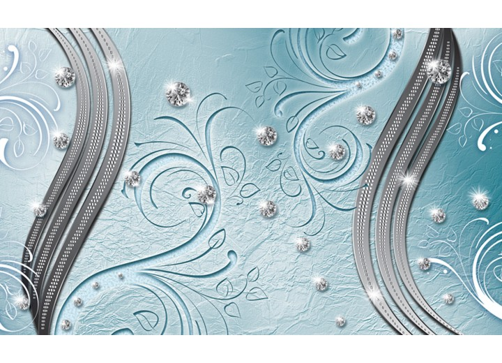 Fotobehang Vlies | Abstract | Blauw, Zilver | 254x184cm