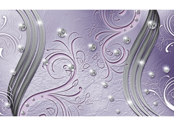 Fotobehang Vlies | Abstract | Paars, Zilver | 254x184cm