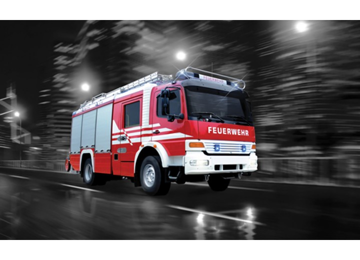 Fotobehang Vlies   Brandweerauto   Zwart, Rood   254x184cm