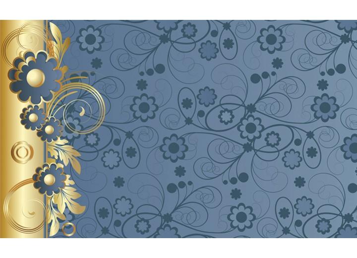 Fotobehang Vlies   Bloemen   Goud, Blauw   254x184cm