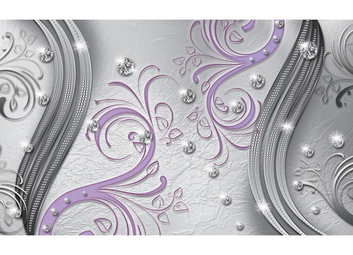 Fotobehang Vlies | Modern | Zilver, Paars | 254x184cm
