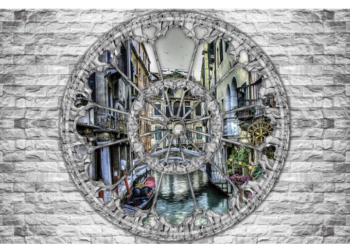 Fotobehang Vlies | Muur, Venetië | Grijs | 254x184cm