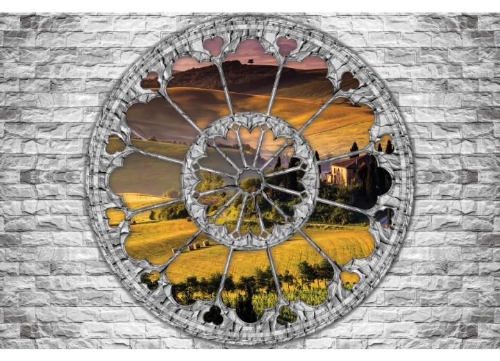 Fotobehang Vlies   Muur, Natuur   Grijs   254x184cm