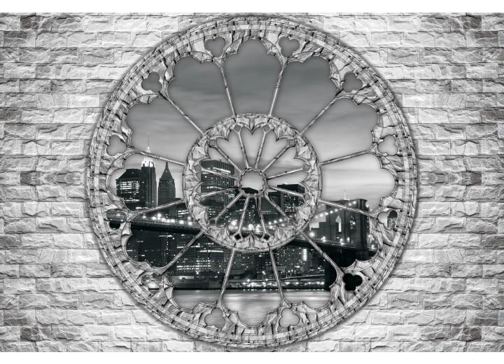 Fotobehang Vlies | New York, Muur | Grijs | 254x184cm