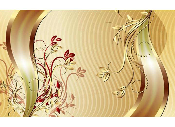 Fotobehang Vlies | Klassiek, Bloemen | Goud | 254x184cm
