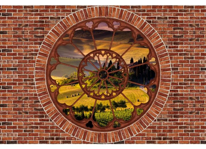 Fotobehang Vlies   Muur, Natuur   Bruin   254x184cm