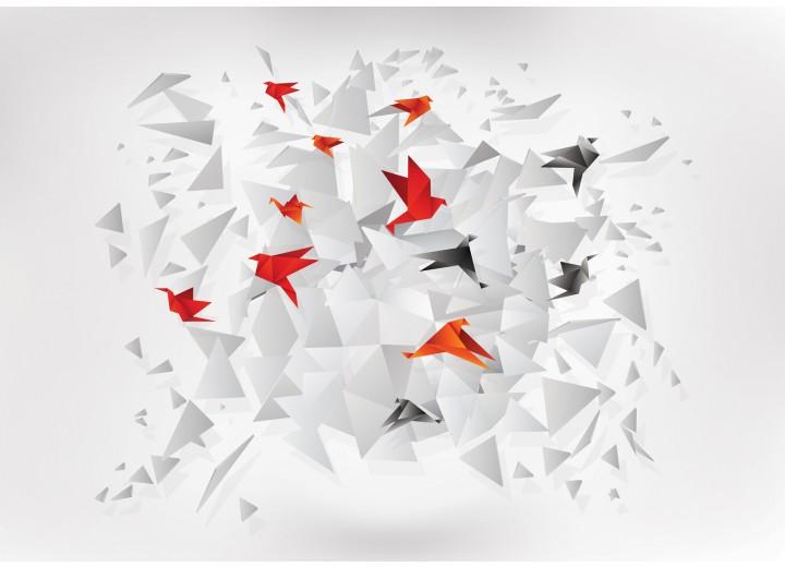 Fotobehang Vlies   3D, Origami   Rood   254x184cm