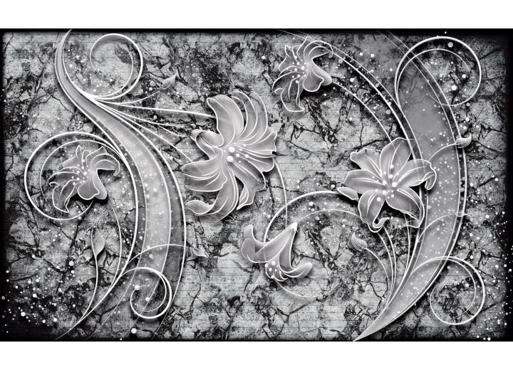 Fotobehang Vlies   Muur, Bloemen   Grijs   254x184cm