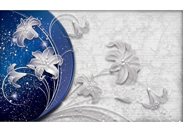 Fotobehang Vlies | Bloemen, Modern | Blauw | 254x184cm