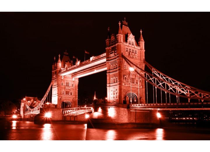 Fotobehang Vlies   London, Brug   Rood   254x184cm