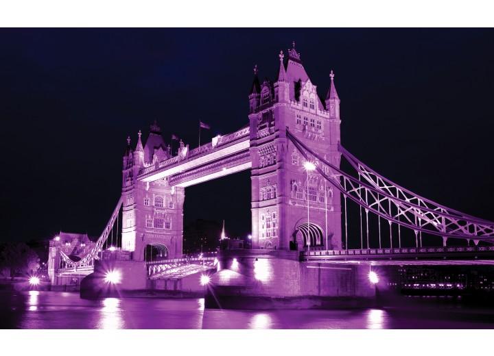 Fotobehang Vlies   London, Brug   Paars   254x184cm