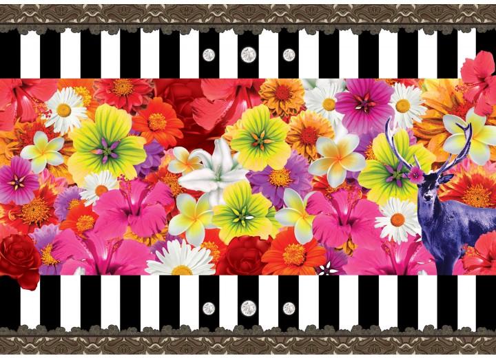 Fotobehang Vlies   Bloemen, Kleurrijk   Rood   254x184cm