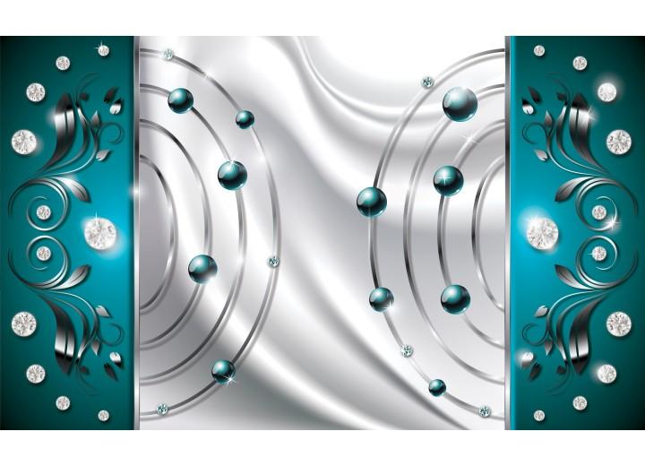 Fotobehang Vlies   Modern   Zilver, Turquoise   254x184cm