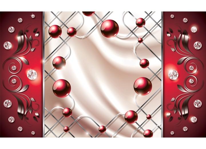 Fotobehang Vlies | Modern, Slaapkamer | Zilver, Rood | 254x184cm
