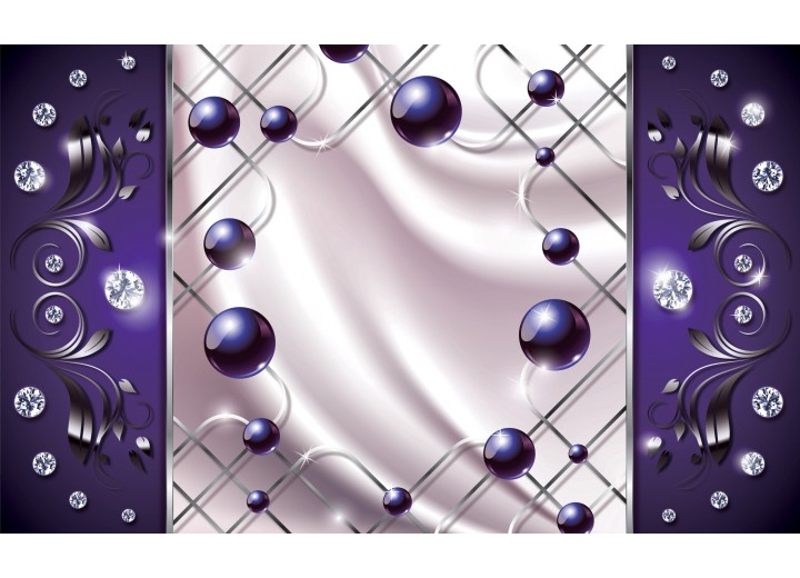 Fotobehang Vlies   Modern, Slaapkamer   Zilver, Paars   254x184cm