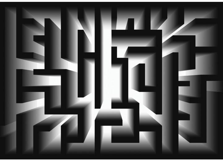 Fotobehang Vlies | Design, Doolhof | Zwart | 254x184cm