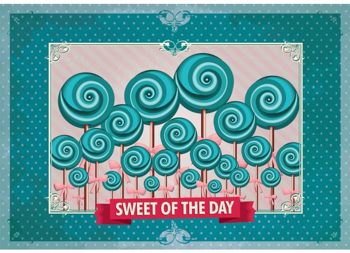 Fotobehang Vlies | Snoepjes | Turquoise | 254x184cm
