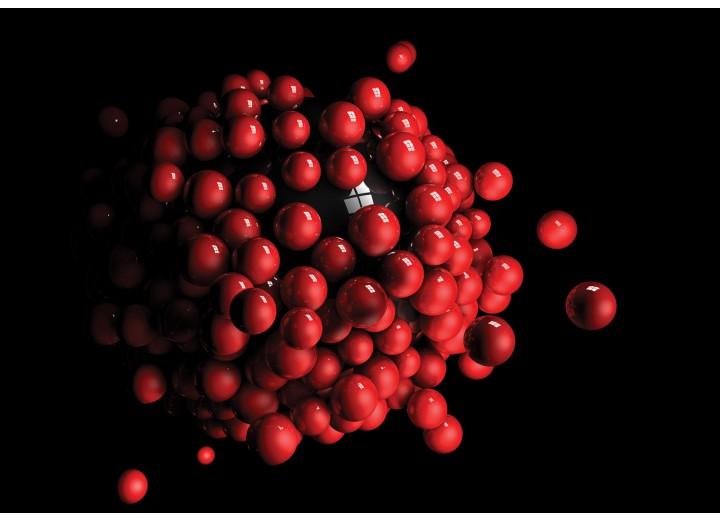 Fotobehang Vlies | 3D | Rood, Zwart | 254x184cm