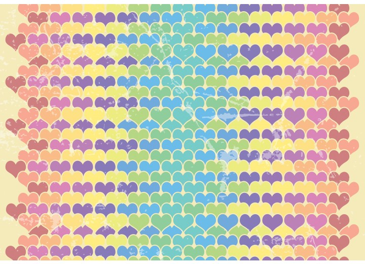 Fotobehang Vlies | Hartjes | Geel, Blauw | 254x184cm