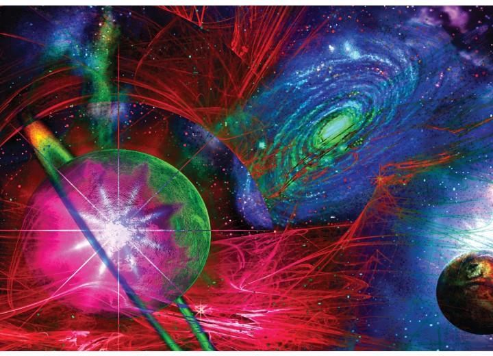 Fotobehang Vlies | Planeten | Blauw, Rood | 254x184cm