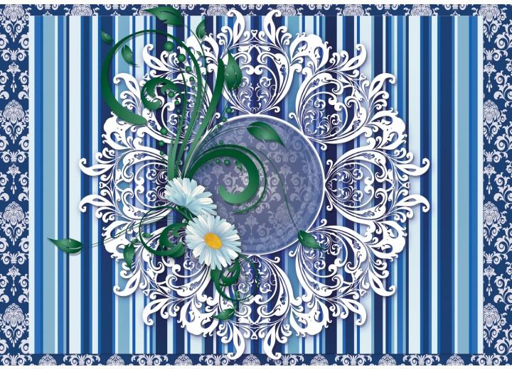Fotobehang Vlies | Bloem, Strepen | Blauw | 254x184cm