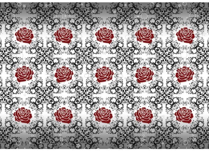 Fotobehang Vlies | Rozen, Bloemen | Grijs, Rood | 254x184cm