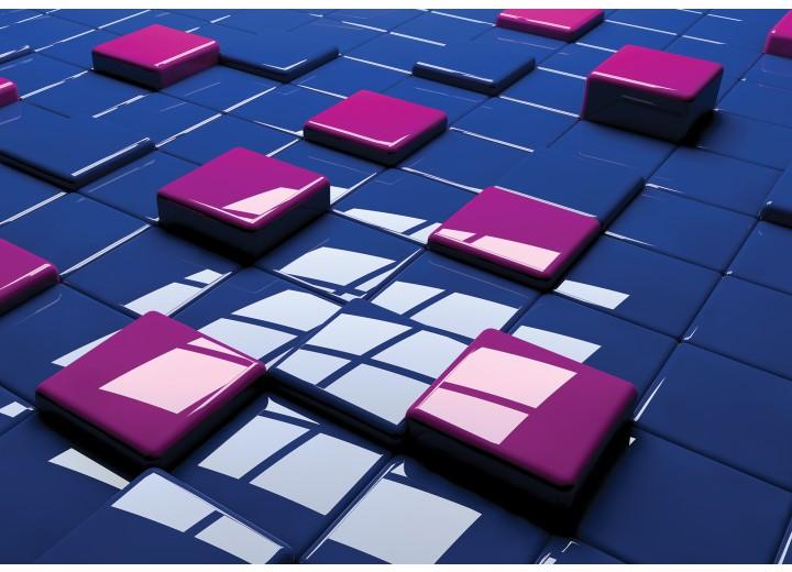 Fotobehang Vlies | 3D | Blauw, Roze | 254x184cm